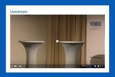 """Livestream signal of the conference """"Civil Society Driving Change"""" on 16 October. Copyright: VENRO"""